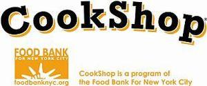 white cookshop flier with foodbank logo