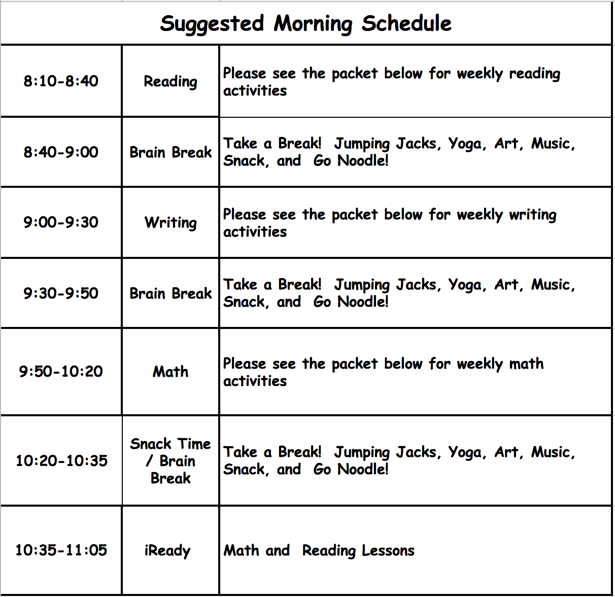 PROPOSED DAILY SCHEDULE