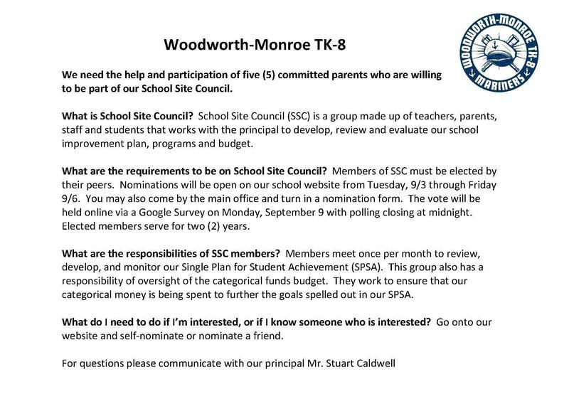 School Site Council Flier