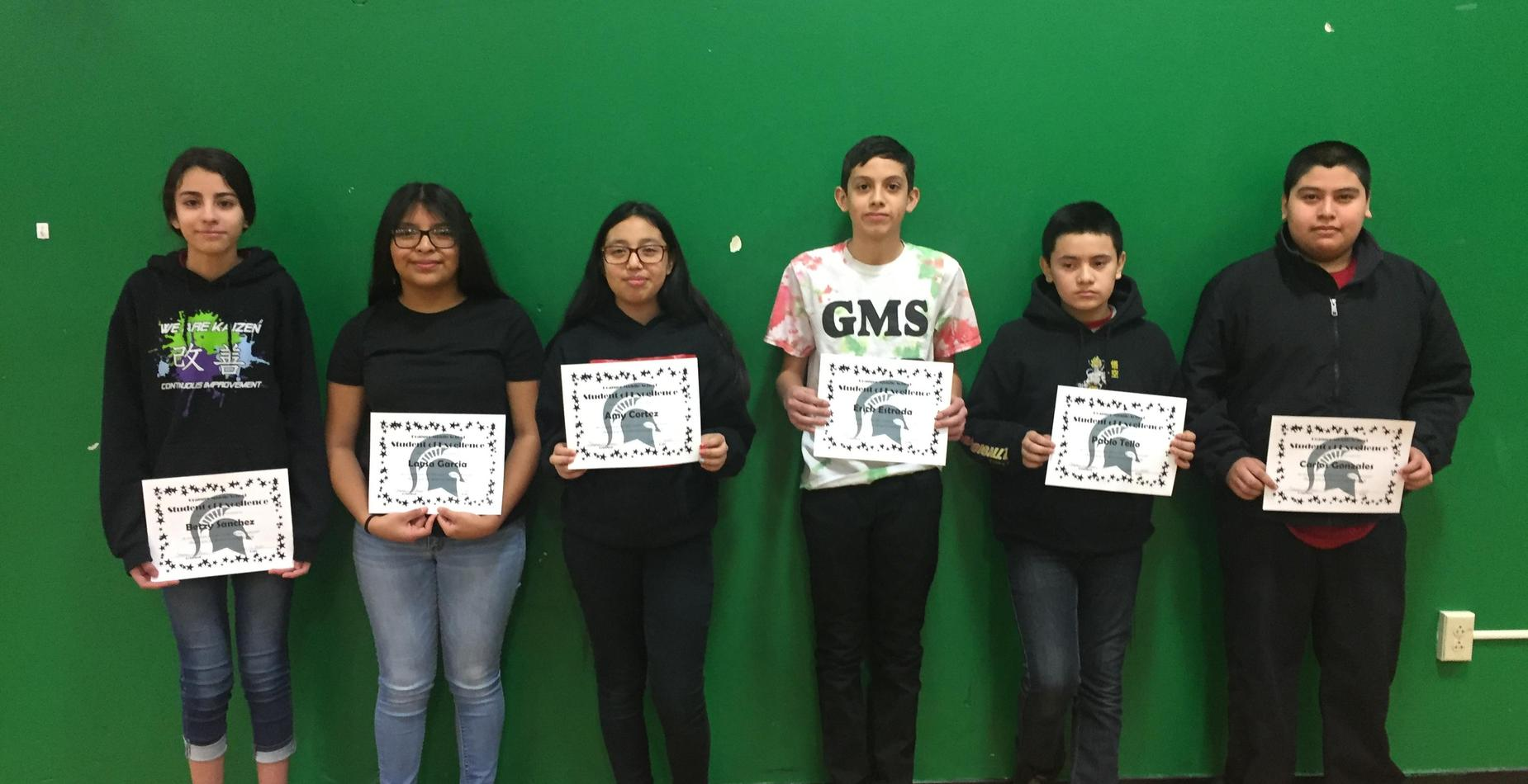 8th Grade Students of Excellence - November, December, and January