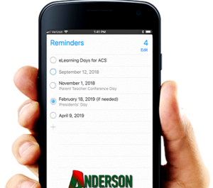 photo of hand holding cell phone with eLearning day dates for ACS