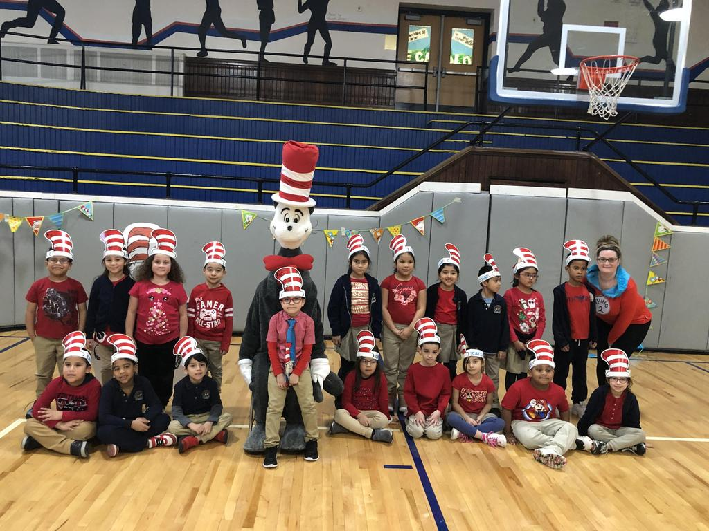 First Grade class with teacher and Cat in the Hat