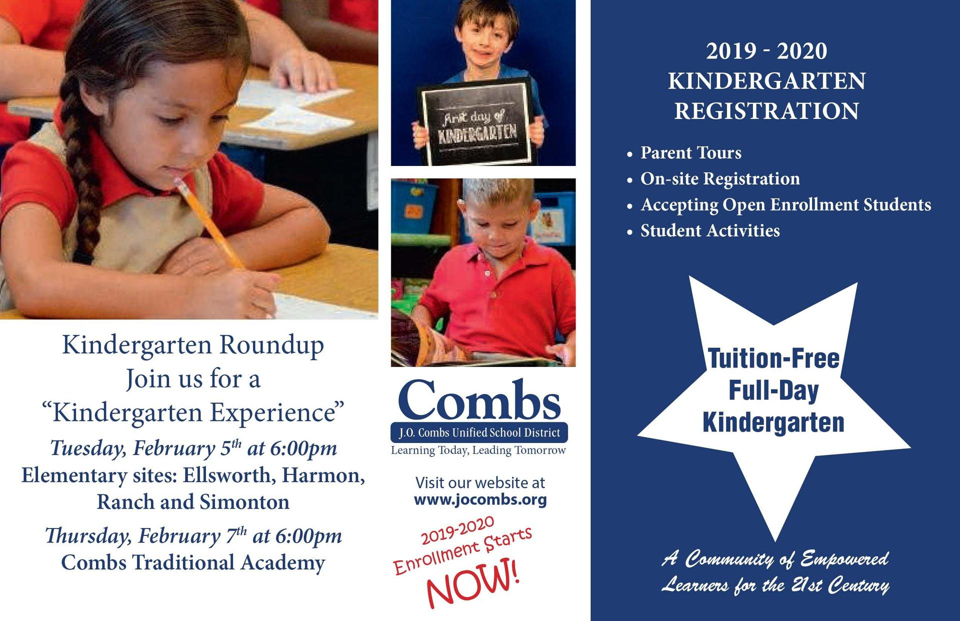 Kindergarten Registration Postcard 2019-2020