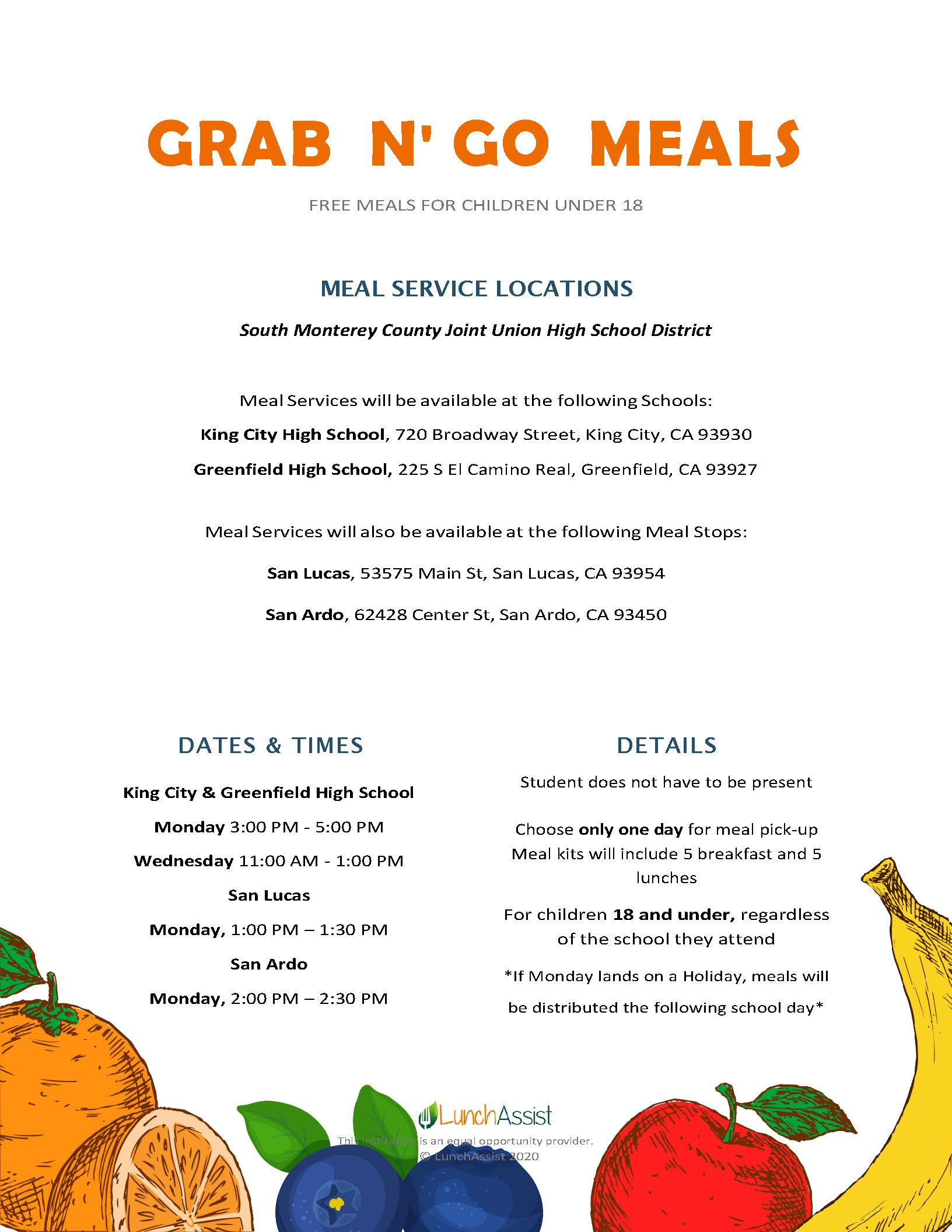 Take Home Meals dates and times