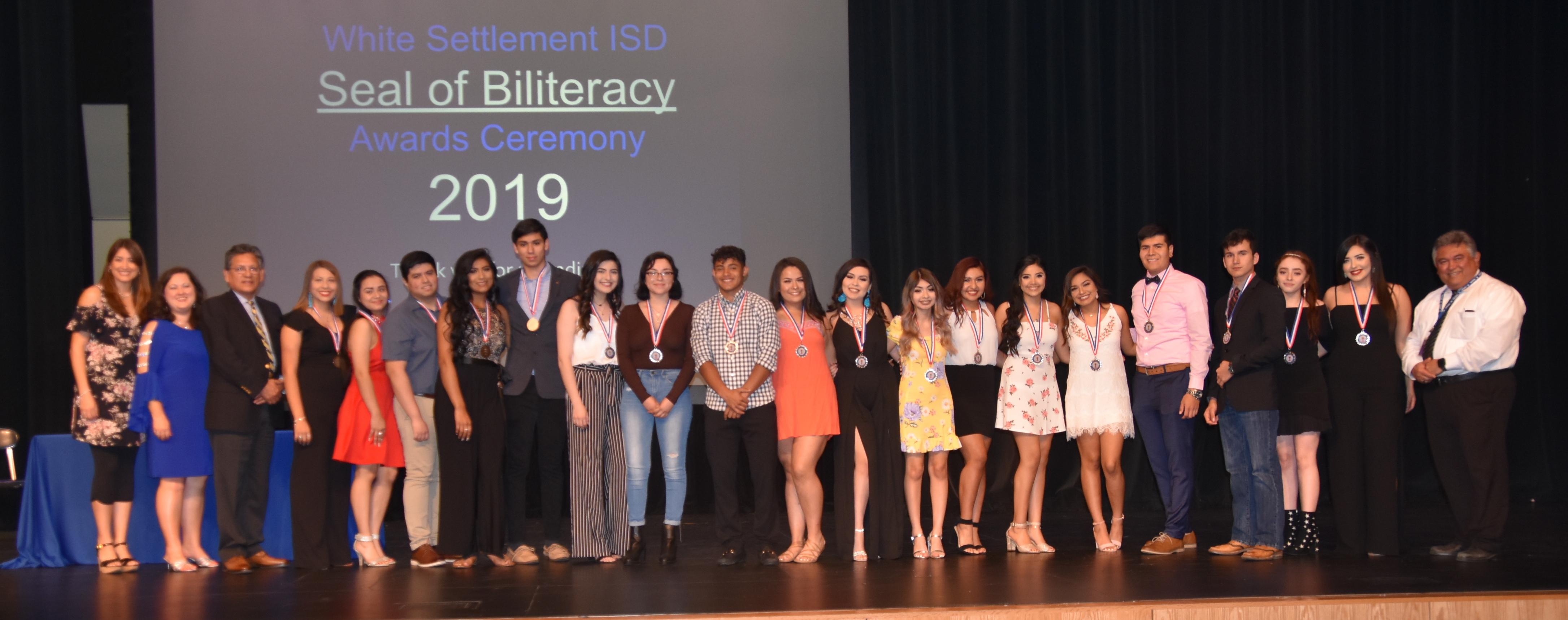 White Settlement ISD recognized 24 Brewer High School seniors with the Seal of BiliteracyAward on April 23. The award recognizes students who have studied and attained proficiency in two or more languages by high school graduation.