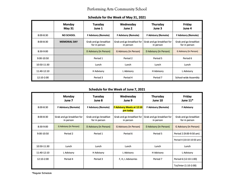 UPDATED Bell Schedule for Week of May 31st & June 7th Featured Photo