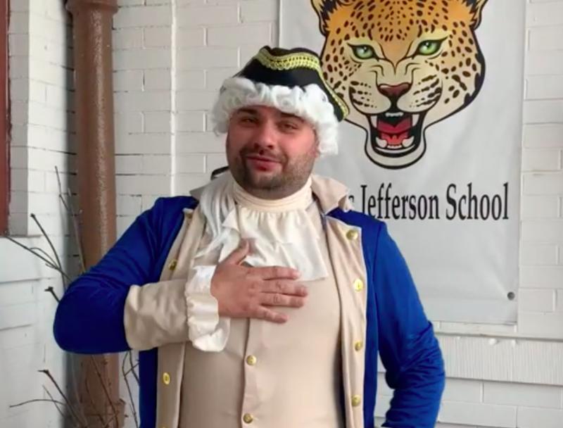 Thomas Jefferson impersonator outside of the school