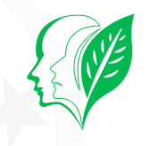A clipart image of a leaf and a face (CCA's logo).