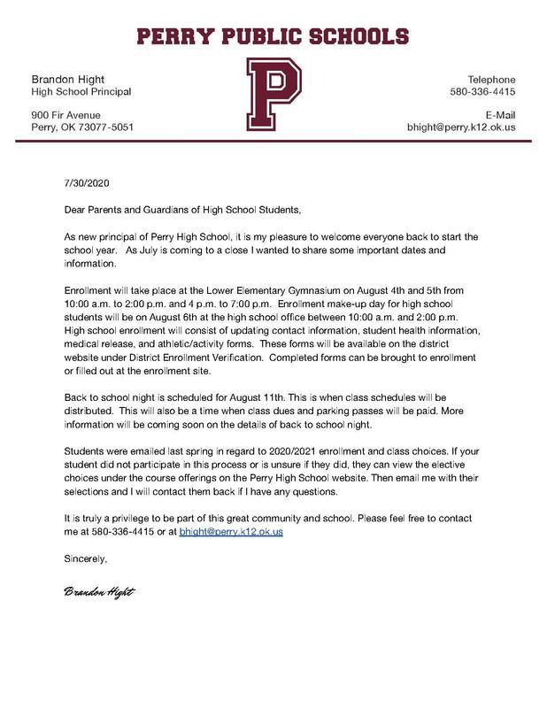 HS Enrollment Letter