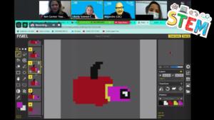 Apple-like Piskel character on zoom