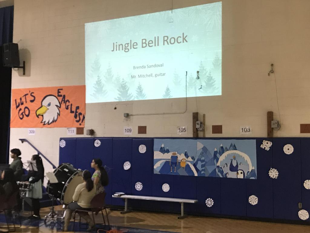 Announcement of Jingle Bell Rock performance
