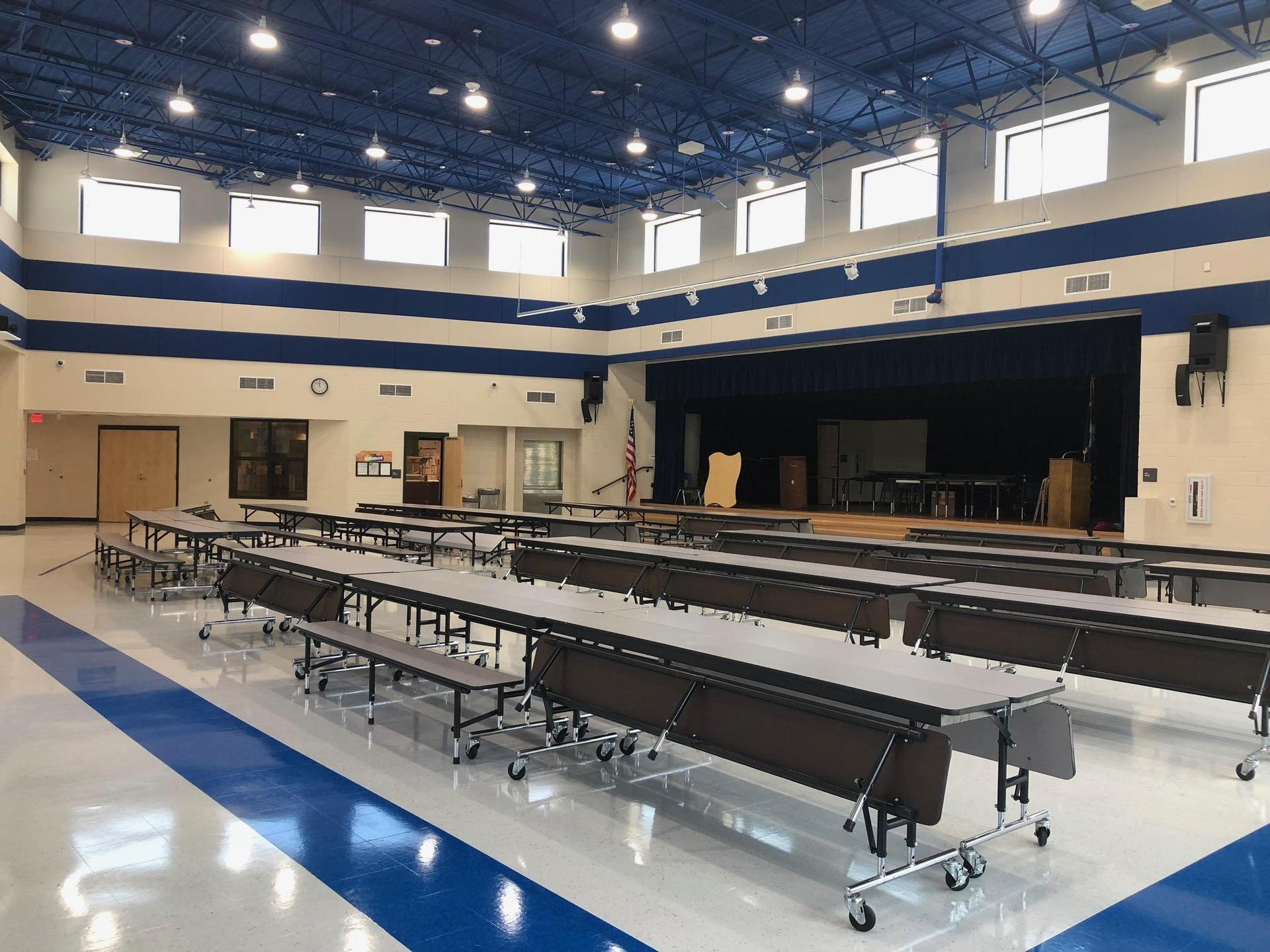 Interior view of new cafetorium at Congaree Elementary