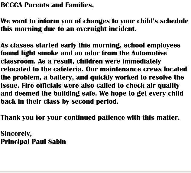 Announcement from BCCCA