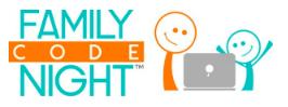Family Code night cartoon kids with computer
