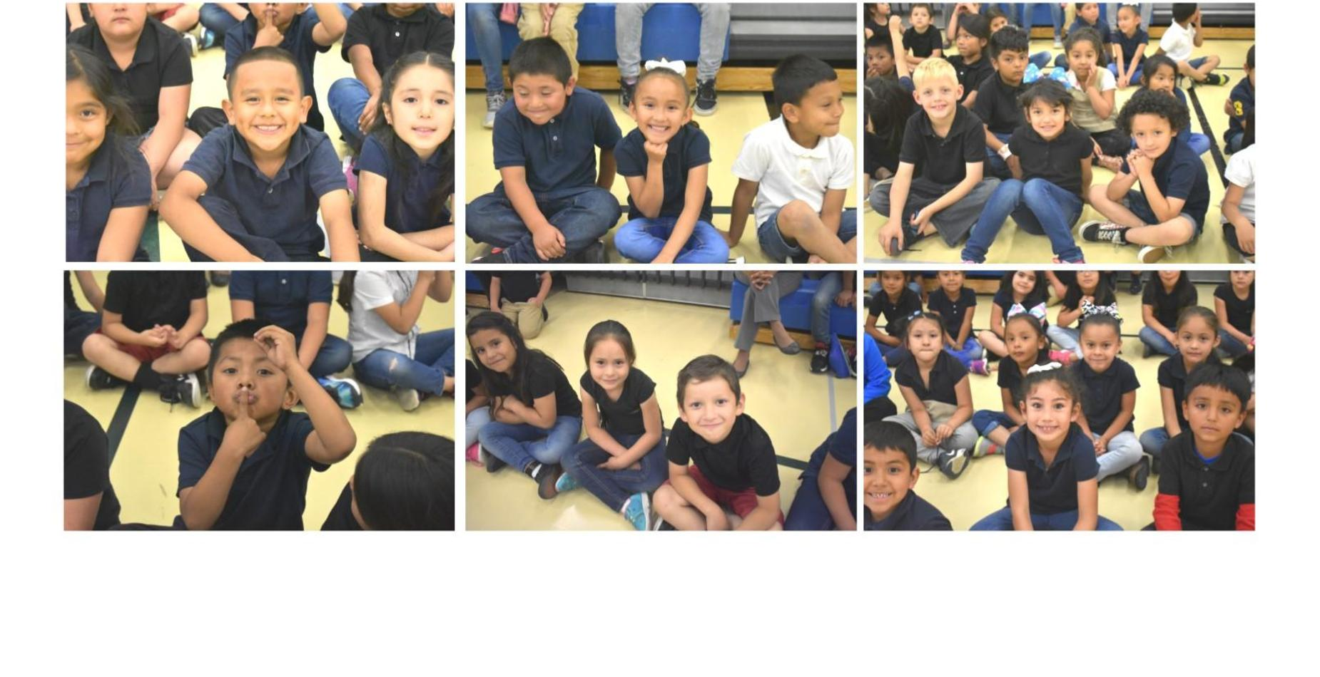 six pictures showing kindergarten students ready for the bike giveaway assembly!