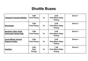 Bus Schedule for the College and Career Fair from Hamilton to West Valley.