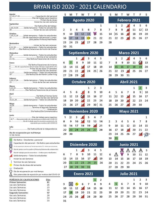Academic Calendar in Spanish