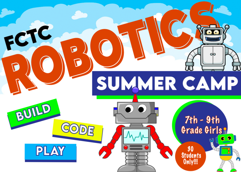colorful letters, robots, orange and blue circles