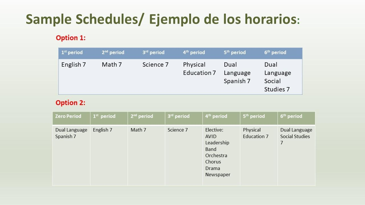 Tables with schedules