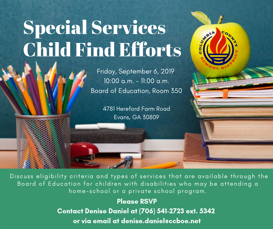 Special Services Child Find efforts