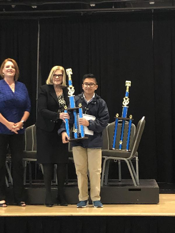8th grader, Ernie O., finished 2nd at the Riverside County Spelling Bee