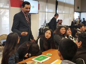 Superintendent Cruz talking to kids at the Google CS Roadshow.