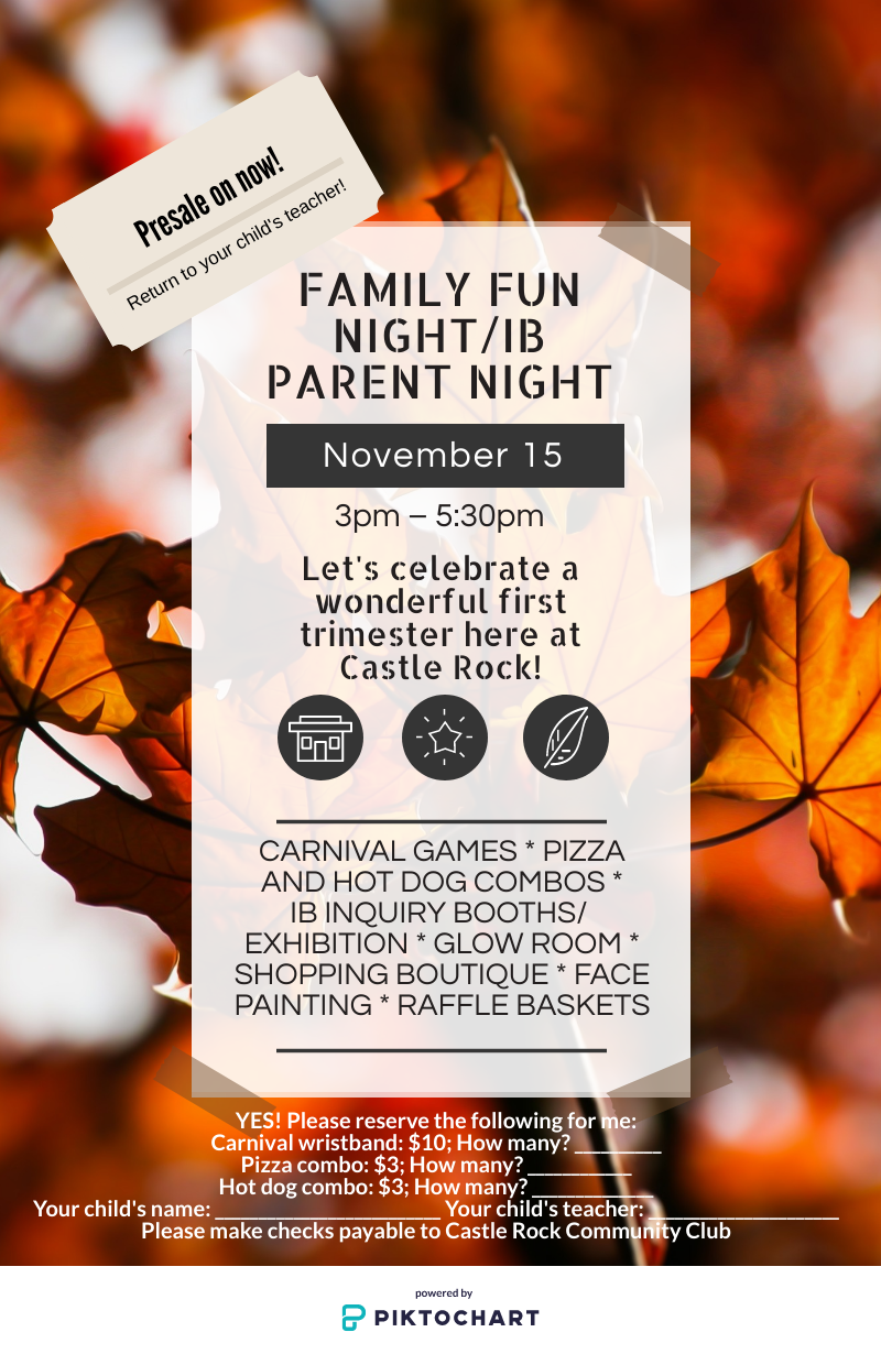 Family Fun Night / IB Parent Night is November 15 (3:00-5:30 pm)! Featured Photo
