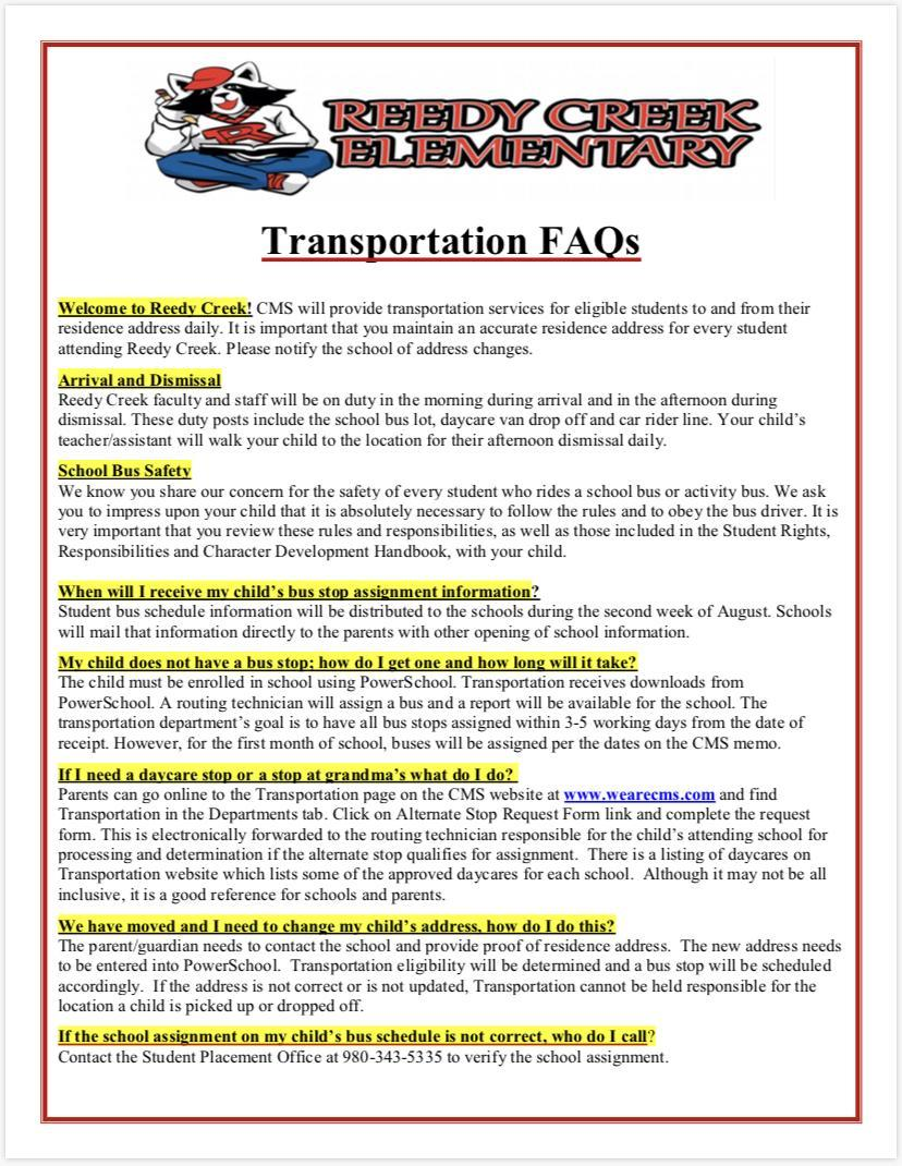 Image contains transportation FAQs