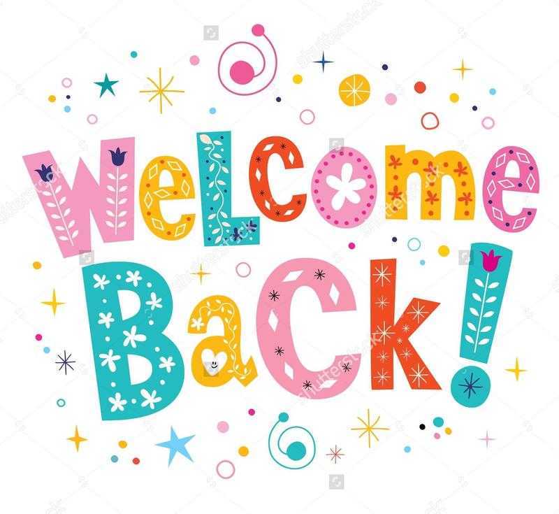 Welcome back block letters in different colors with confetti