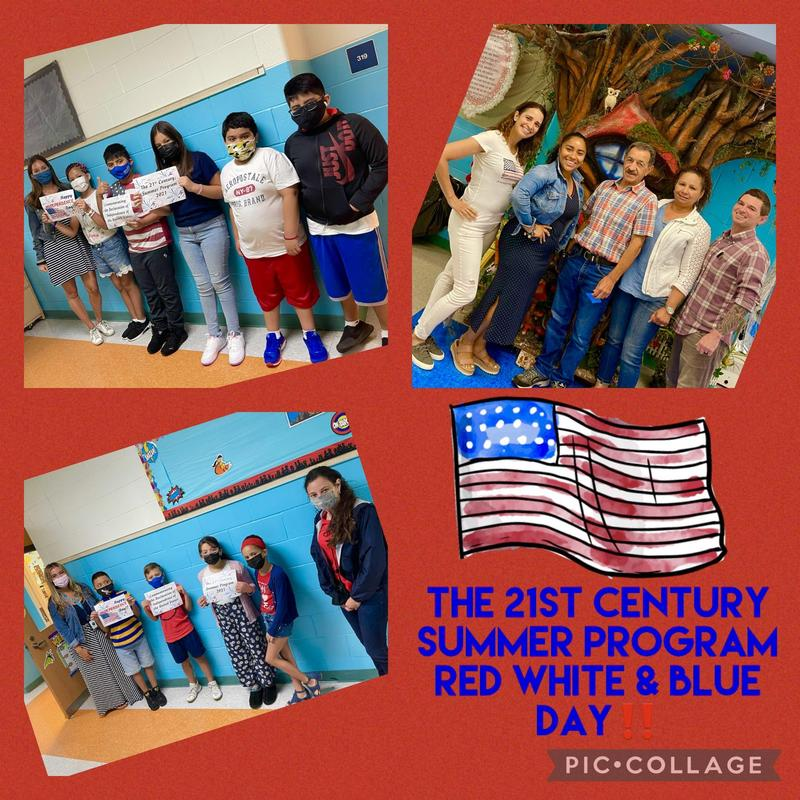 Teachers and students wearing red, white, and blue collage