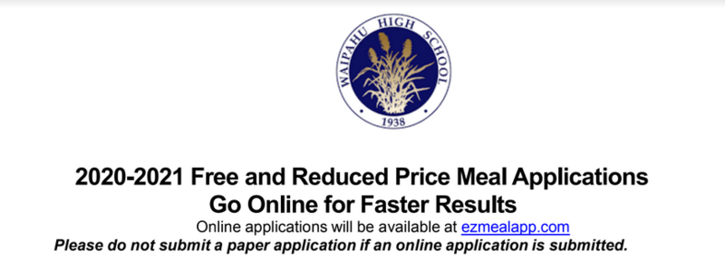 Free/Reduced Lunch Online Application