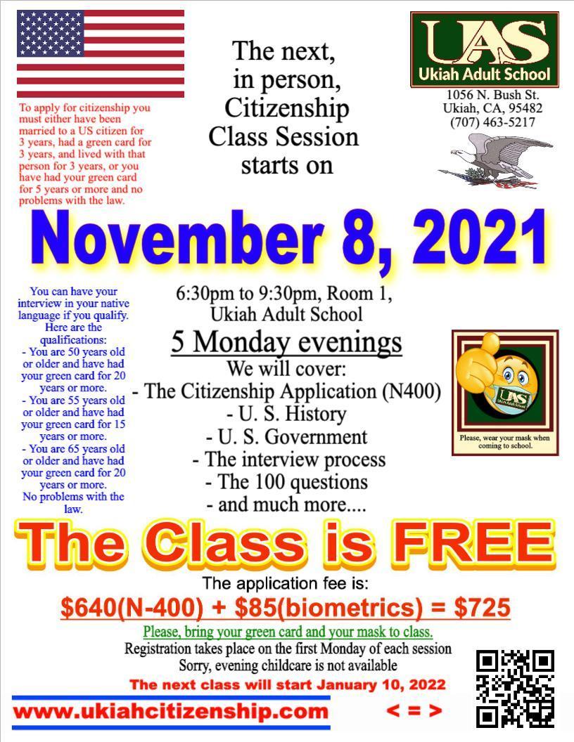 The next citizenship class session starts November 8, 2021 poster.