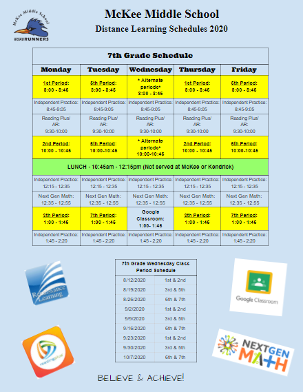 McKee Distance Learning Schedule Thumbnail Image
