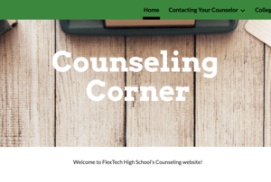 Screen shot of the counseling corner website