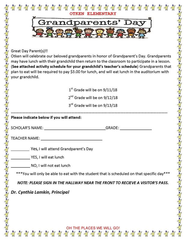 Grandparent's Day Celebration September 11, 12, and 13