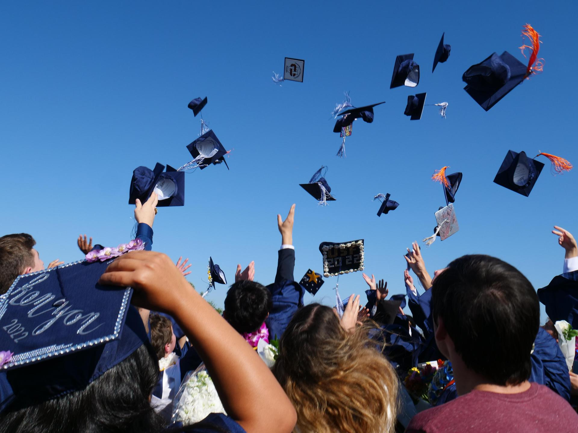 The Class of 2018 throwing their caps after graduation.