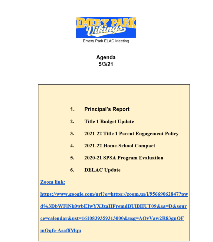 ELAC MEETING, MAY 3RD AT 4:00 PM Featured Photo