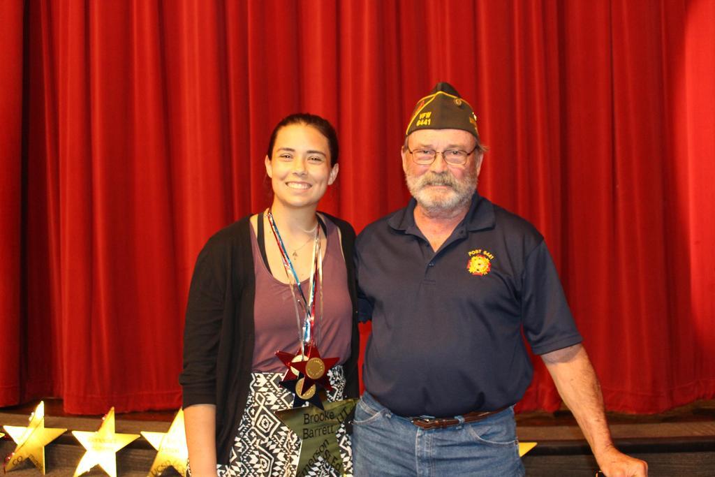 Veterans of Foreign Wars Voice of Democracy Essay Contest Winner $1,000 Recipient Brooke Barrett with Kerry Ridgway, Program Chairman, VFW Oldham Cummings 6441