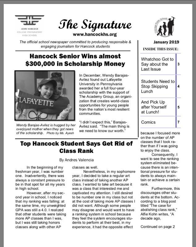 Hancock's January issue of the school newspaper