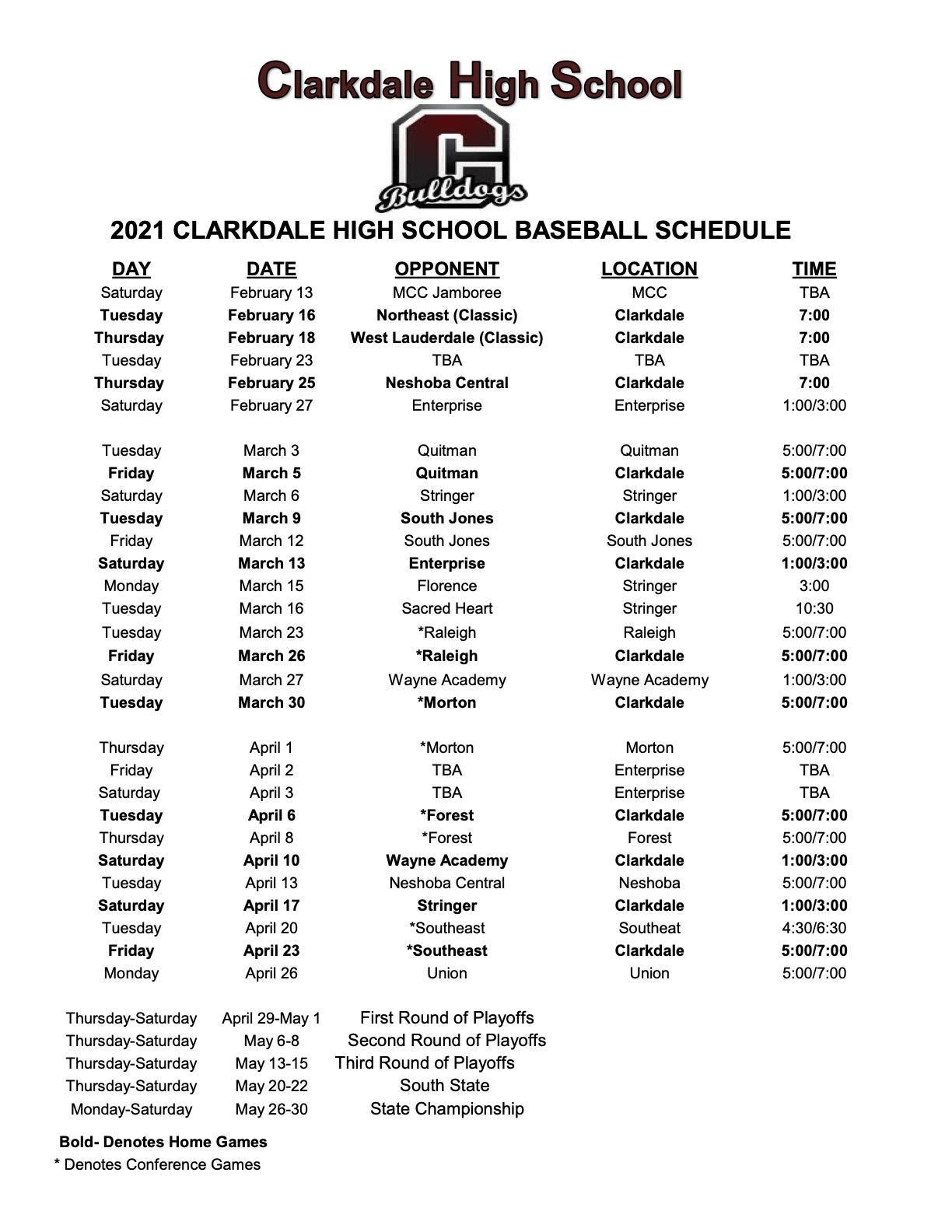 CHS 2021 Baseball Schedule