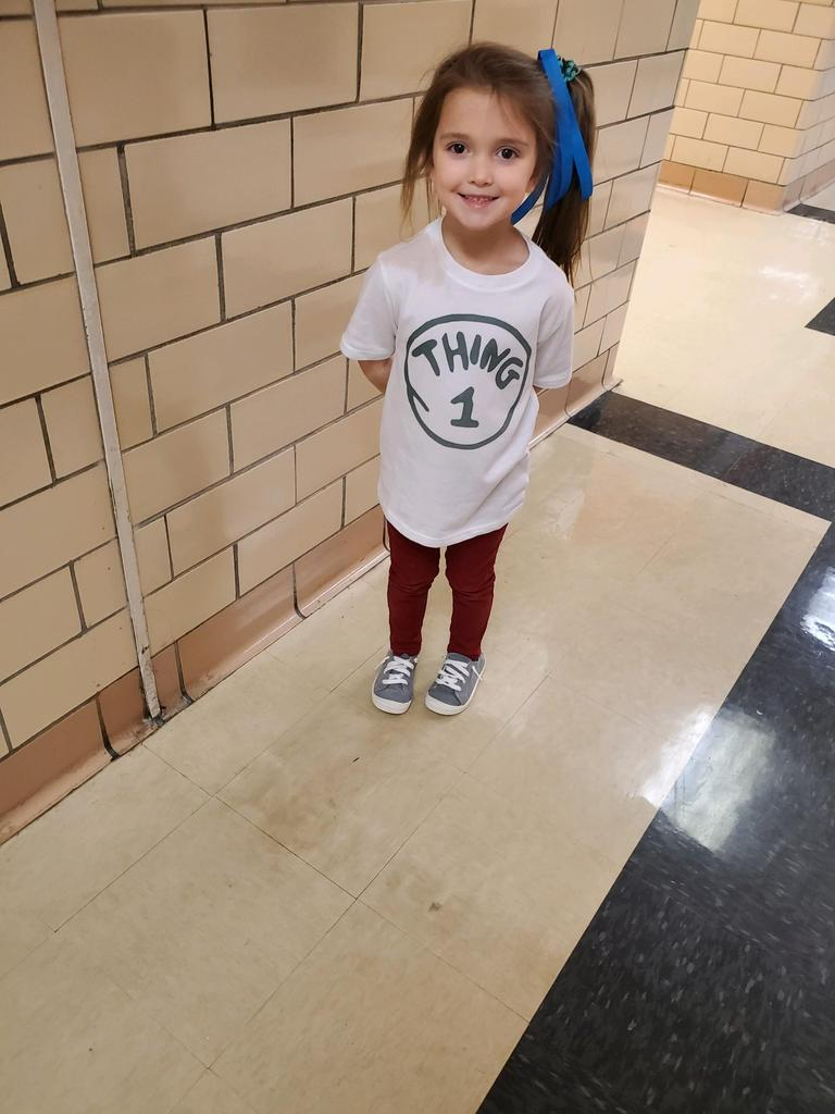 Student in Thing 1 tee shirt