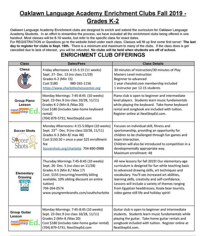 K-2 Club Offerings