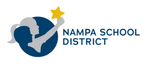 Horizontal Nampa School District Logo - two children holding a star