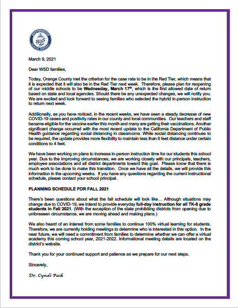A message from Superintendent Dr. Paik - March 9, 2021