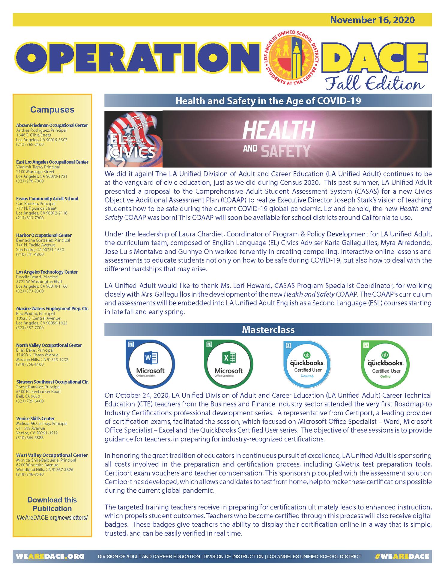 DACE Newsletter - October 19, 2020 Thumbnail