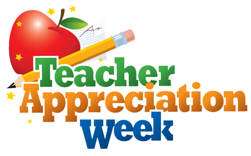 A picture of an apple, and pencil with the words Teacher Appreciation Week.