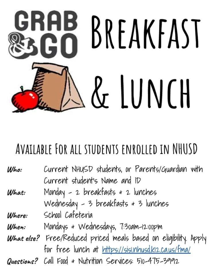 'Grab and Go' Breakfast and Lunch is available to Pioneer Students from 7:30-12:00 on Mondays and Wednesdays.
