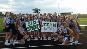 BC Cheerleaders in support of Hayden Hamilton