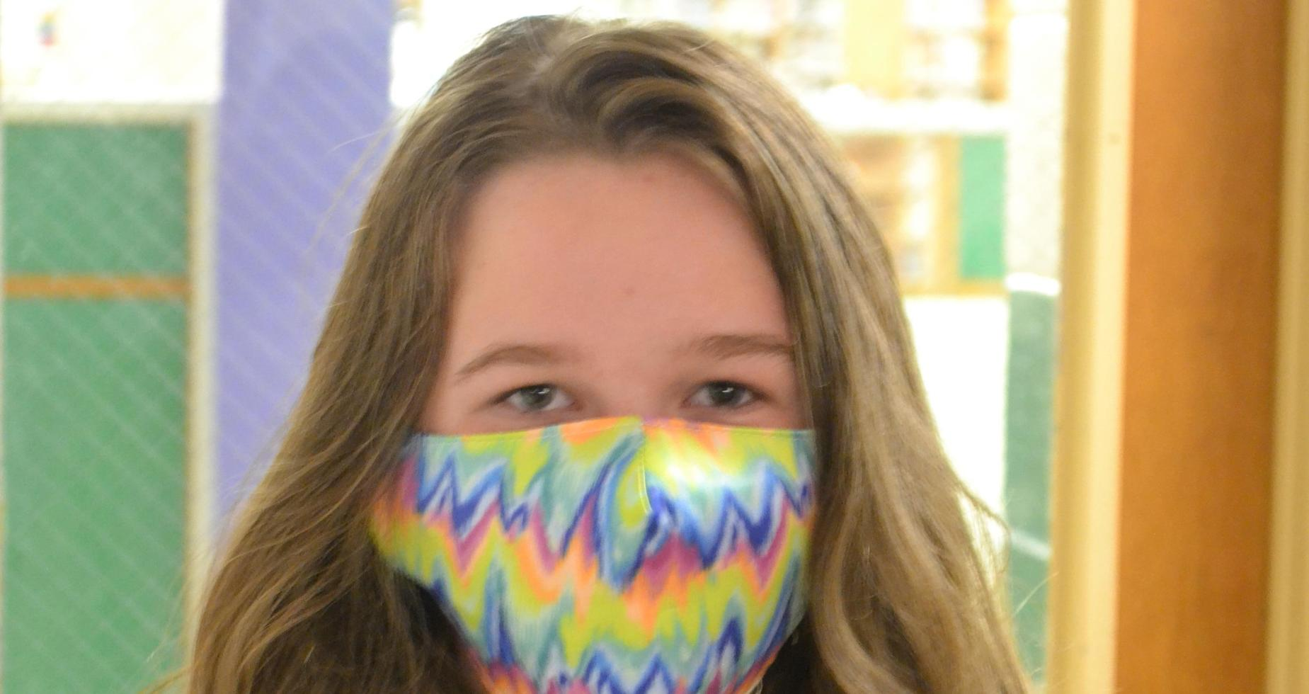 a picture of a colorful student mask