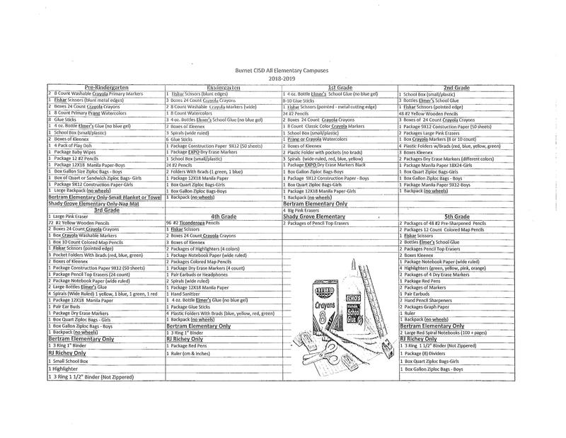 School Supply List 2018-2019 Thumbnail Image